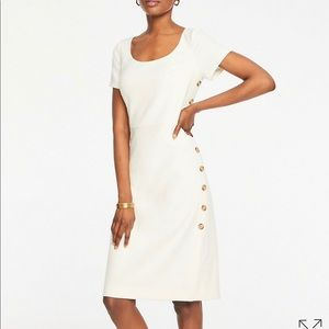 Ann Taylor Doubleweave Side Button Sheath Dress